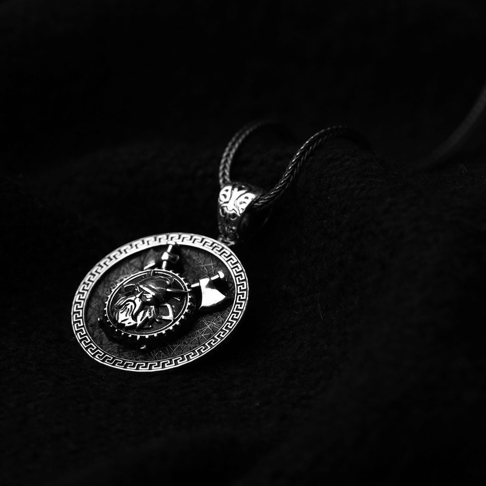Viking Warrior Ø27 Charm Men's Flat Curbed Chain Wholesale Handmade 925 Sterling Silver Men's Necklace