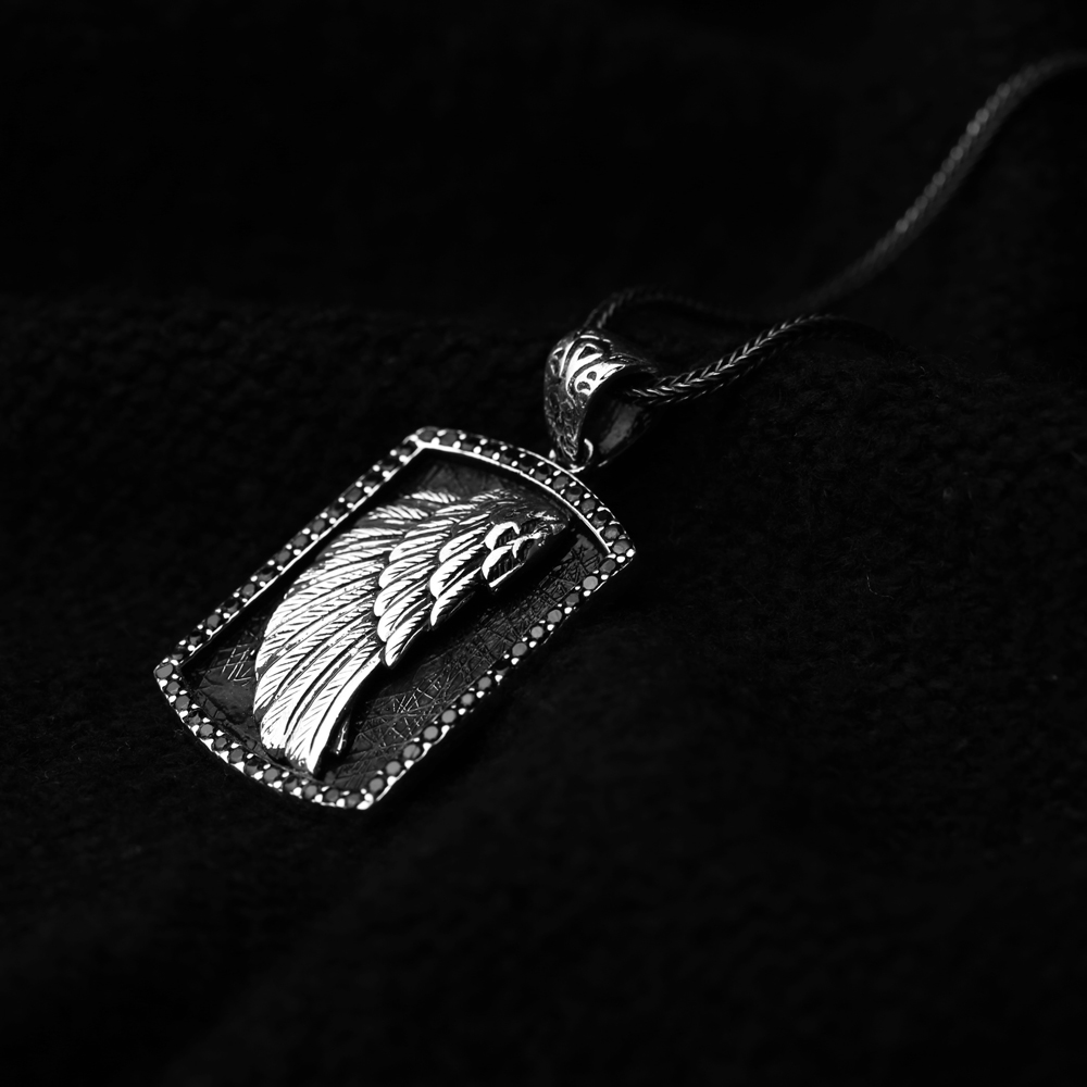 Angel Wing Charm Men's Flat Curbed Chain Wholesale Handmade 925 Sterling Silver Men's Necklace