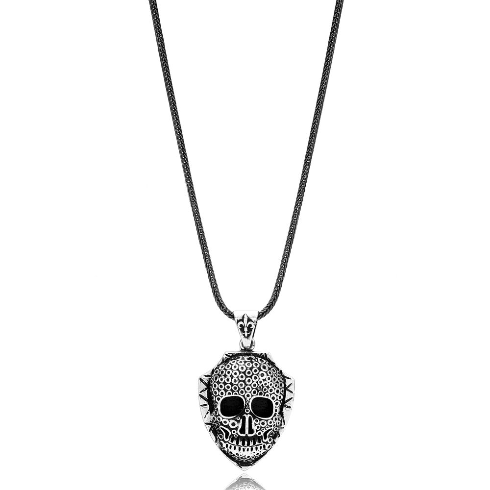Men's Skull Charm Flat Curbed Chain Wholesale Handmade 925 Sterling Silver Men's Necklace