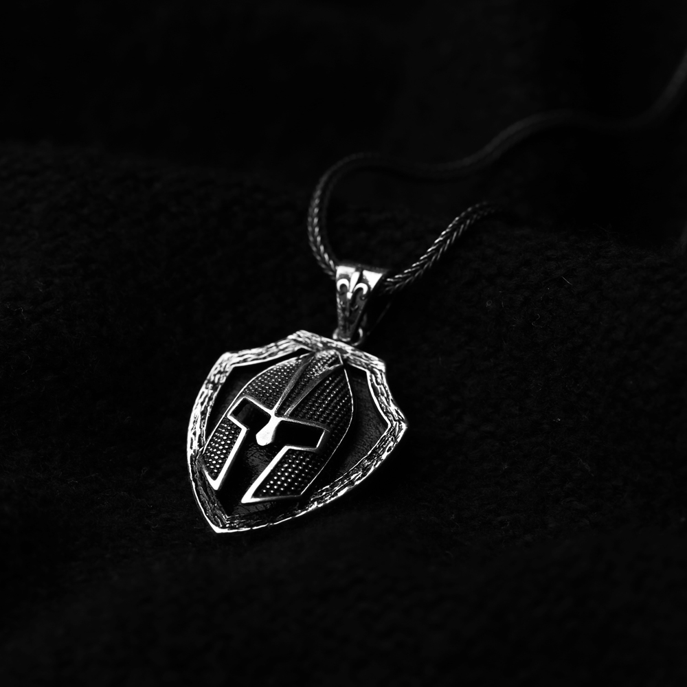 Antique Helmet Charm Flat Curbed Chain Wholesale Handmade 925 Sterling Silver Men's Necklace
