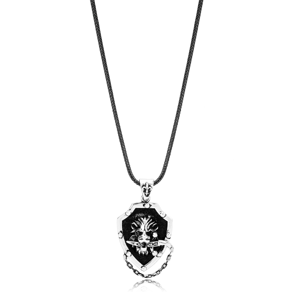 Lion With Sword Charm Flat Curbed Chain Wholesale Handmade 925 Sterling Silver Men's Necklace