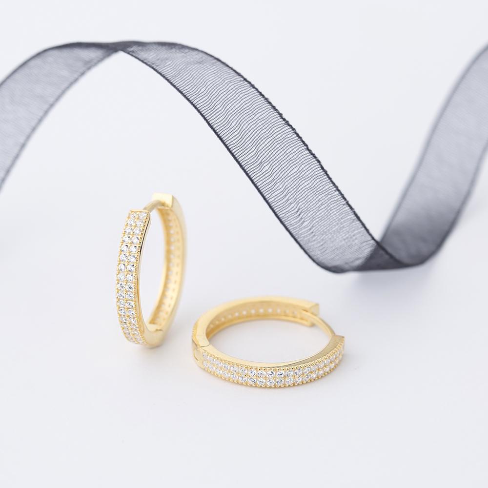 Sparkling Ø22 Hoop Zircon Stone Earring Wholesale Handmade Turkish 925 Silver Sterling Jewellery