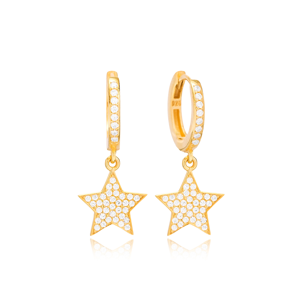 Bright Star Design Ø12 Hoop Earring Turkish Wholesale Handmade 925 Sterling Silver Jewelry