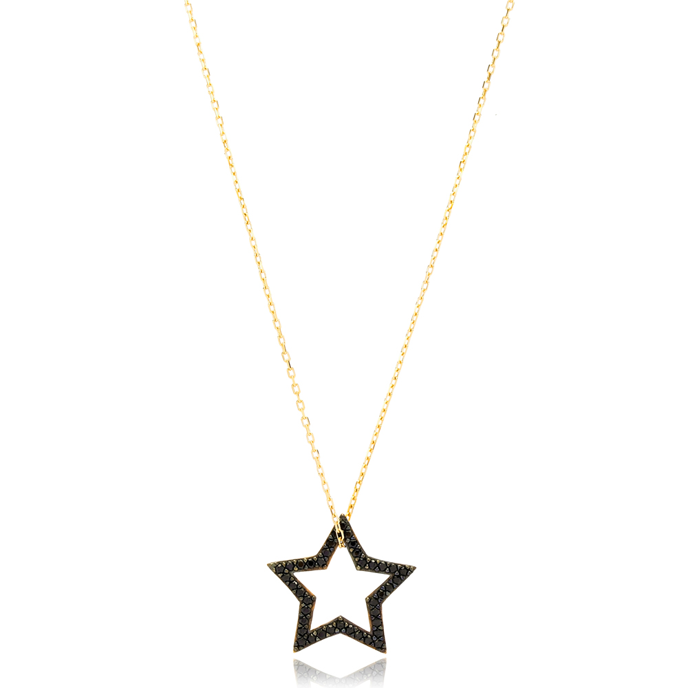 Elegant Star Black Zircon Stone Charm Pendant Turkish Wholesale Handcrafted 925 Sterling Silver Jewelry
