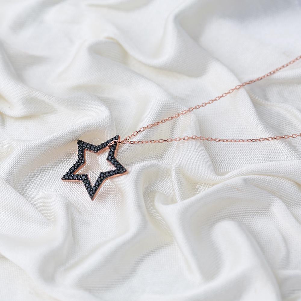 Elegant Star Black Zircon Stone Charm Pendant Turkish Wholesale Handcrafted 925 Sterling Silver Jewelry