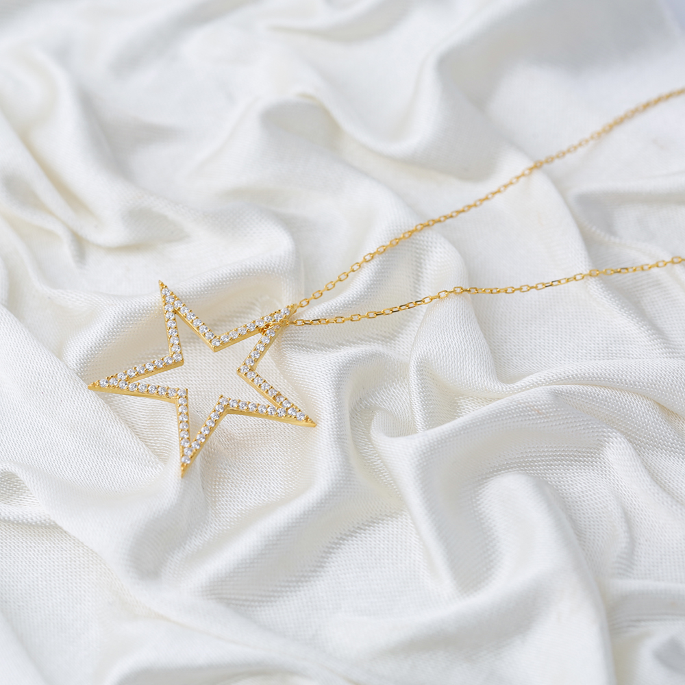 Trendy Star Zircon Stone Charm Pendant Turkish Wholesale Handcrafted 925 Sterling Silver Jewelry