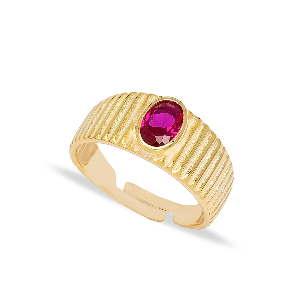 Little Finger Adjustable Ring Oval Shape Ruby Stone Design Wholesale 925 Silver Sterling Jewelry