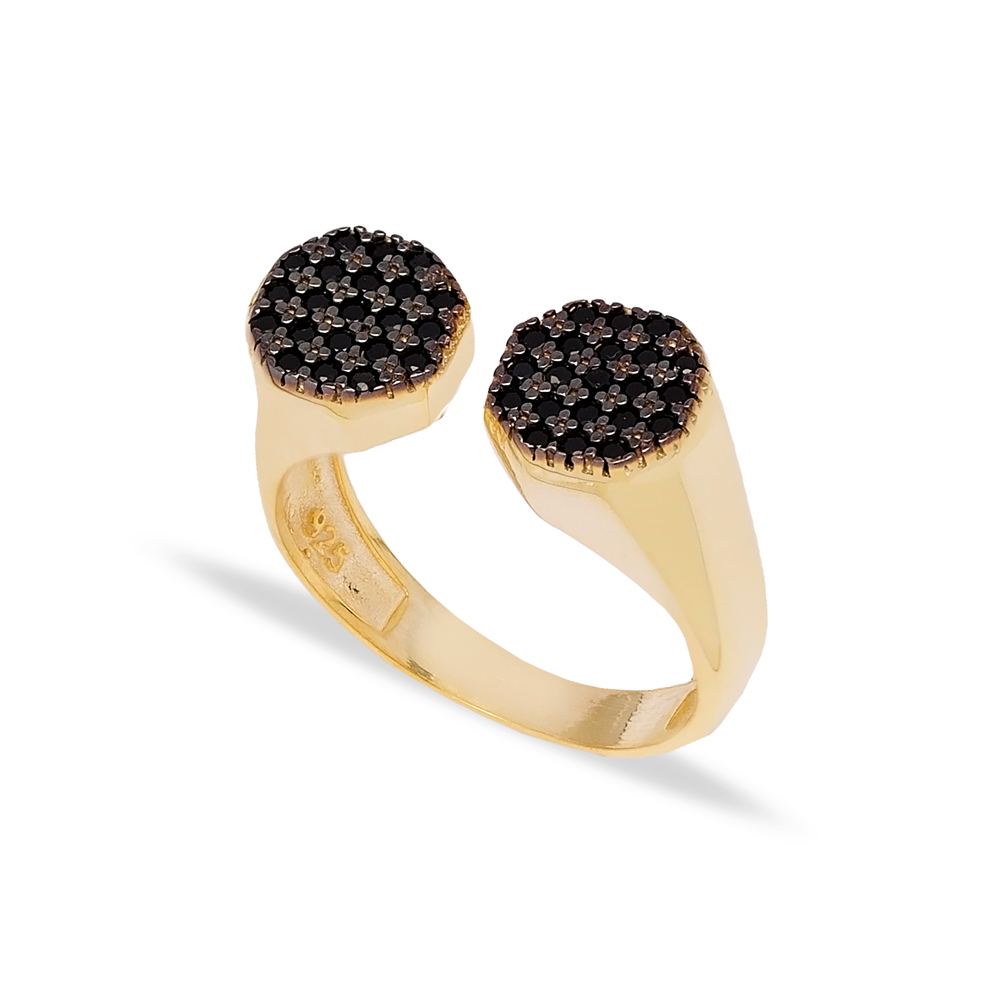 Little Finger Two Round Shape Black Zircon Stone Adjustable Ring Wholesale 925 Silver Sterling Jewelry