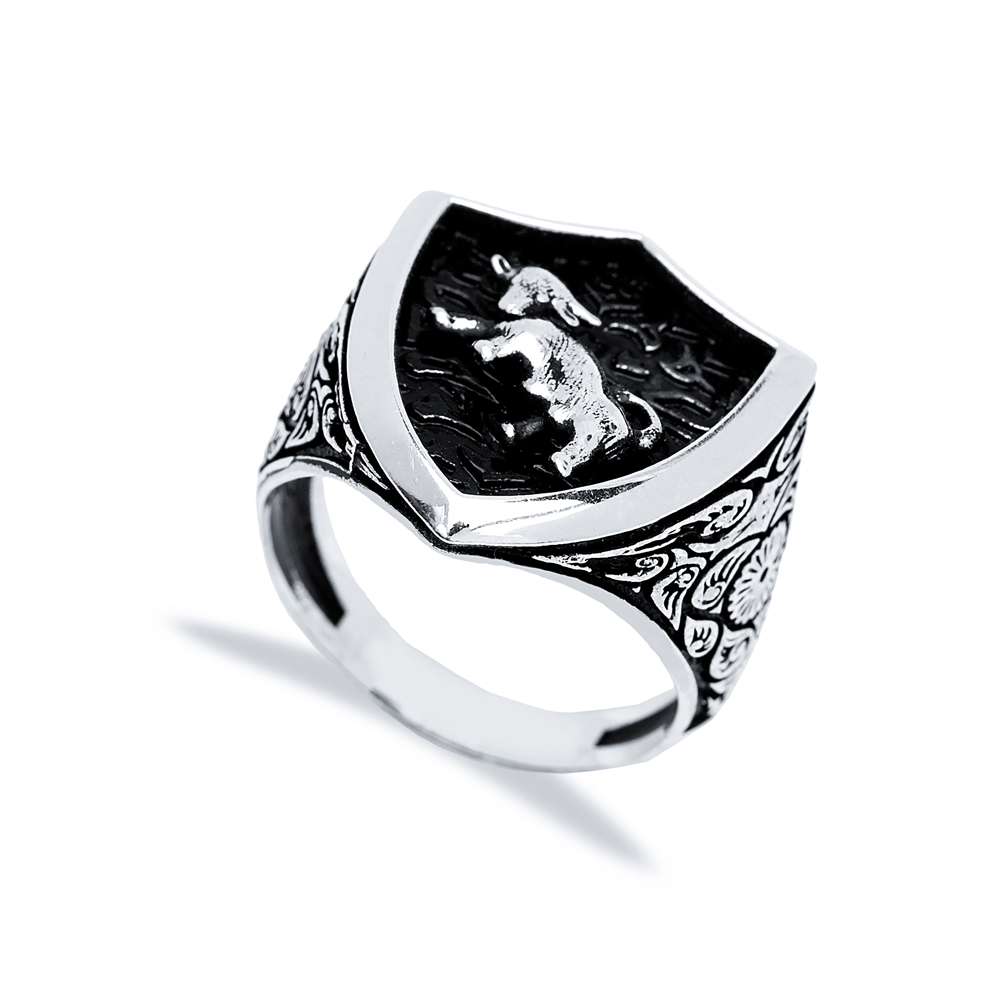 Taurus Zodiac Design Men Signet Ring Wholesale Handmade 925 Sterling Silver Men's Jewelry