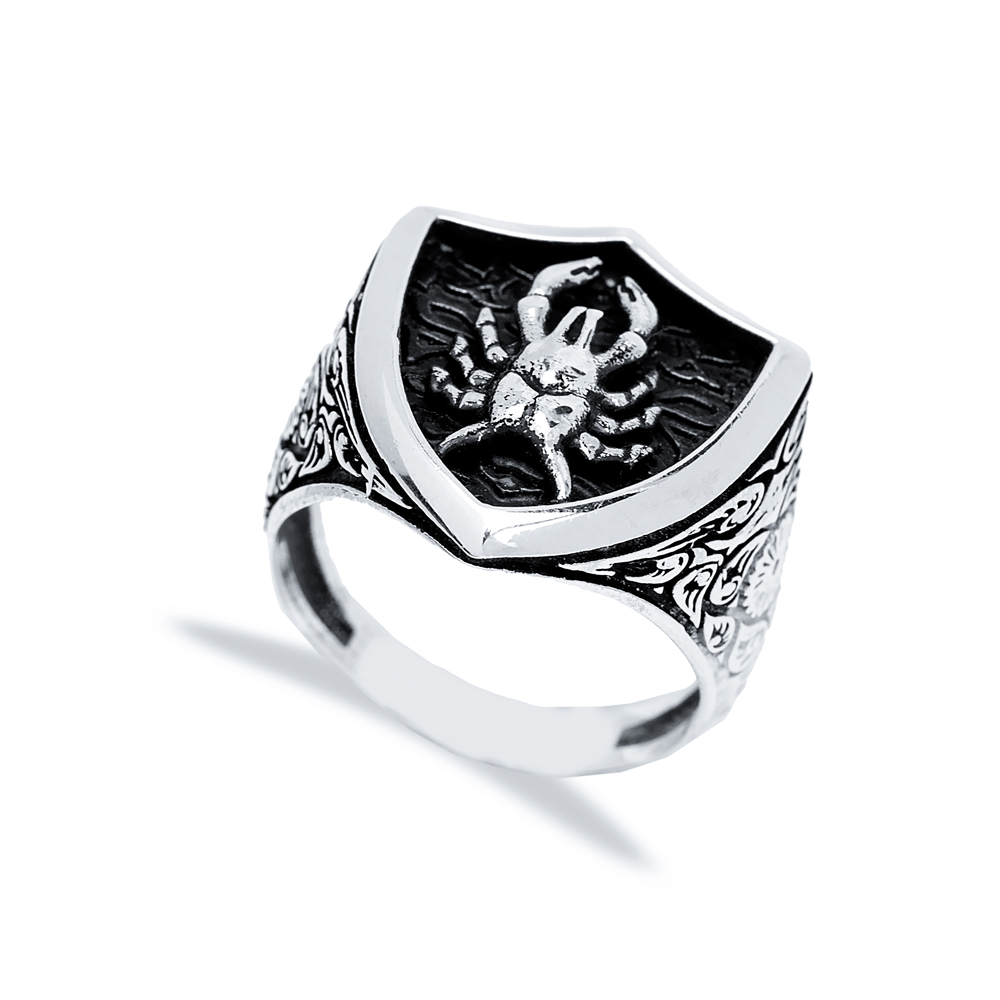 Cancer Zodiac Design Men Signet Ring Wholesale Handmade 925 Sterling Silver Men's Jewelry