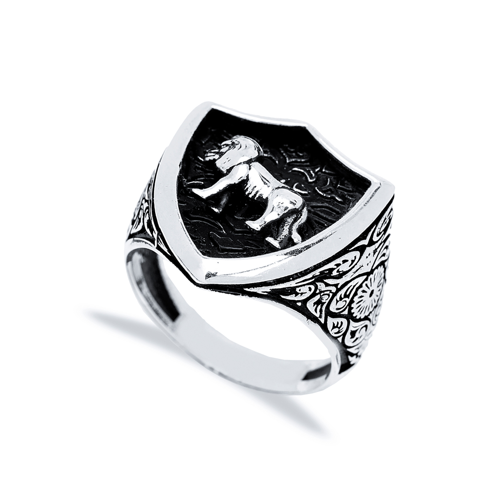 Leo Zodiac Design Men Signet Ring Wholesale Handmade 925 Sterling Silver Men's Jewelry