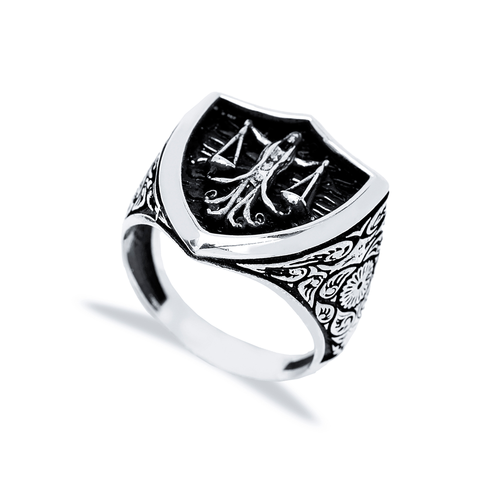 Libra Zodiac Design Men Signet Ring Wholesale Handmade 925 Sterling Silver Men's Jewelry