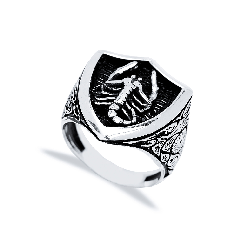 Scorpio Zodiac Design Men Signet Ring Wholesale Handmade 925 Sterling Silver Men's Jewelry