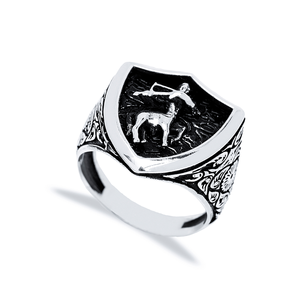 Sagittarius Zodiac Design Men Signet Ring Wholesale Handmade 925 Sterling Silver Men's Jewelry