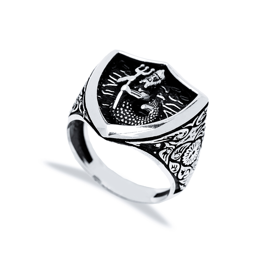 God Of The Sea Design Men Signet Ring Wholesale Handmade 925 Sterling Silver Men's Jewelry