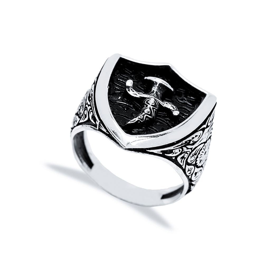 Ancient Knife And Sheath Design Men Signet Ring Wholesale Handmade 925 Sterling Silver Men's Jewelry