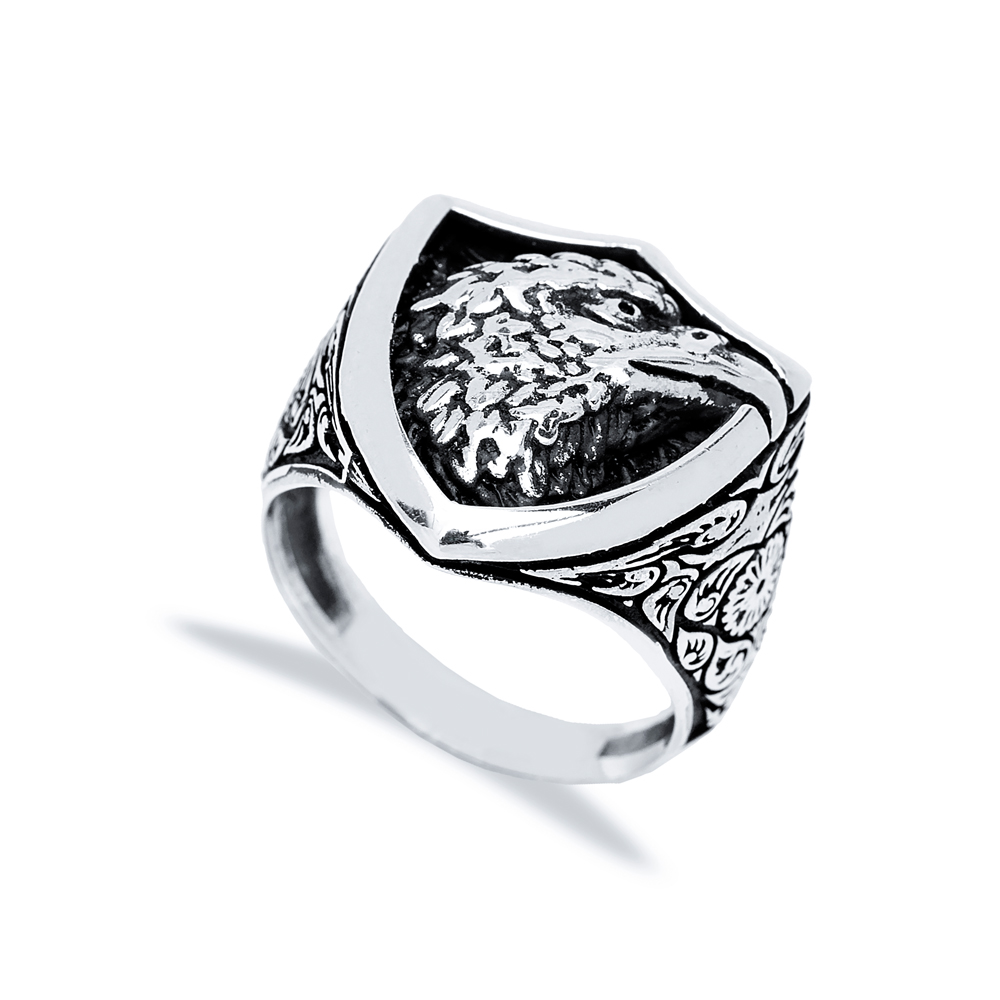 Royal Eagle Design Men Signet Ring Wholesale Handmade 925 Sterling Silver Men's Jewelry