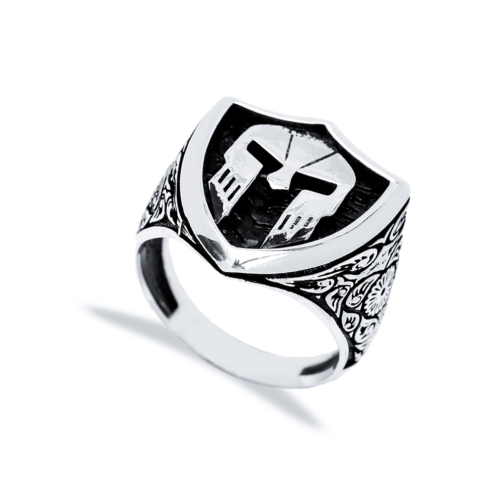 Ancient Helmet Design Men Signet Ring Wholesale Handmade 925 Sterling Silver Men's Jewelry