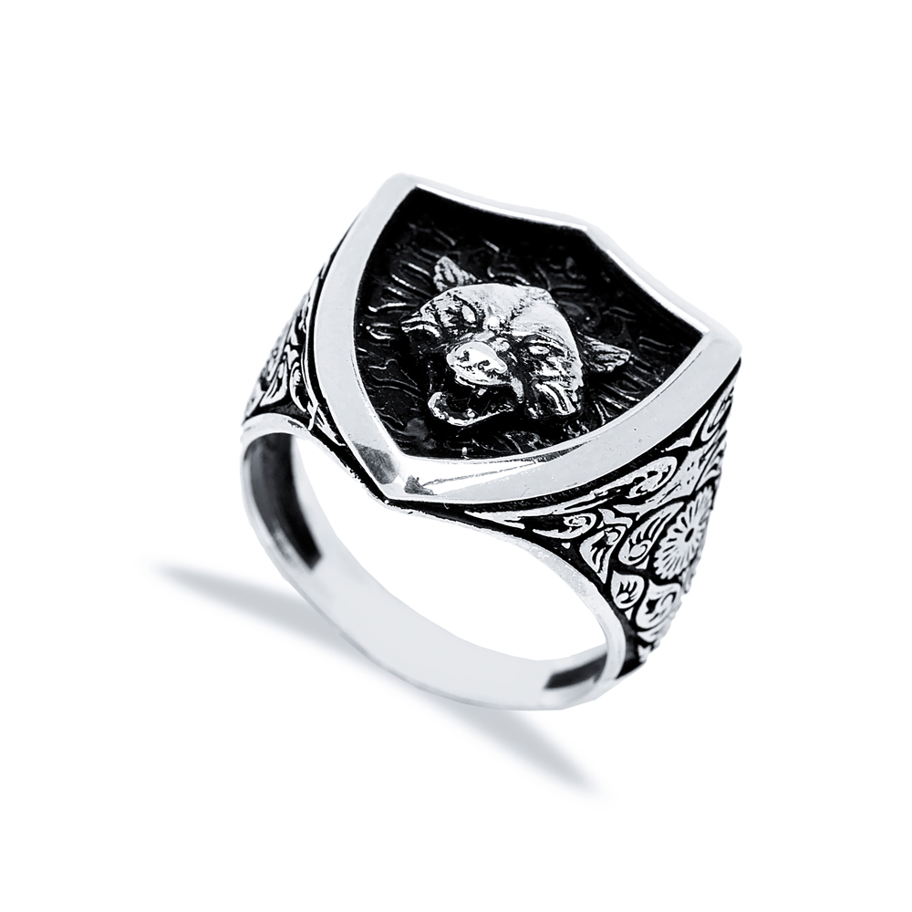 Lone Wolf Design Men Signet Ring Wholesale Handmade 925 Sterling Silver Men's Jewelry