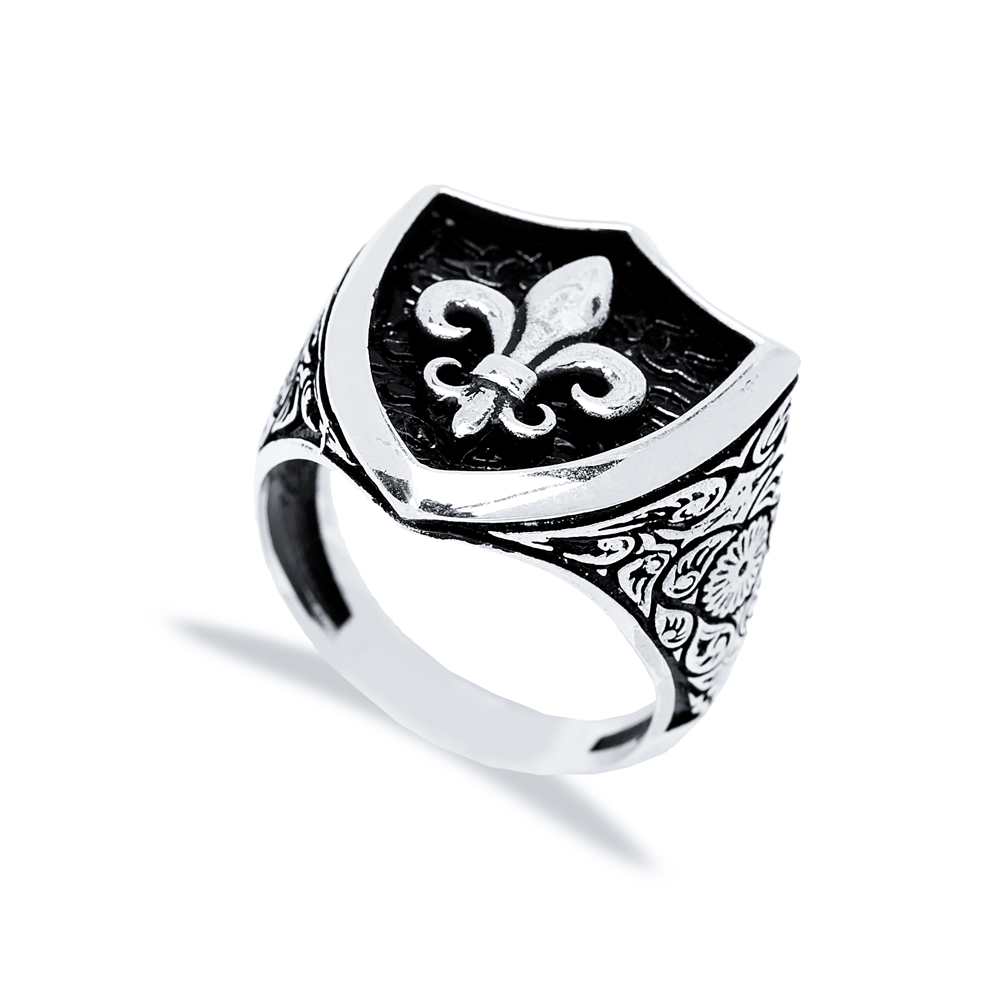 Fleur-De-Lis Symbol Design Men Signet Ring Wholesale Handmade 925 Sterling Silver Men's Jewelry