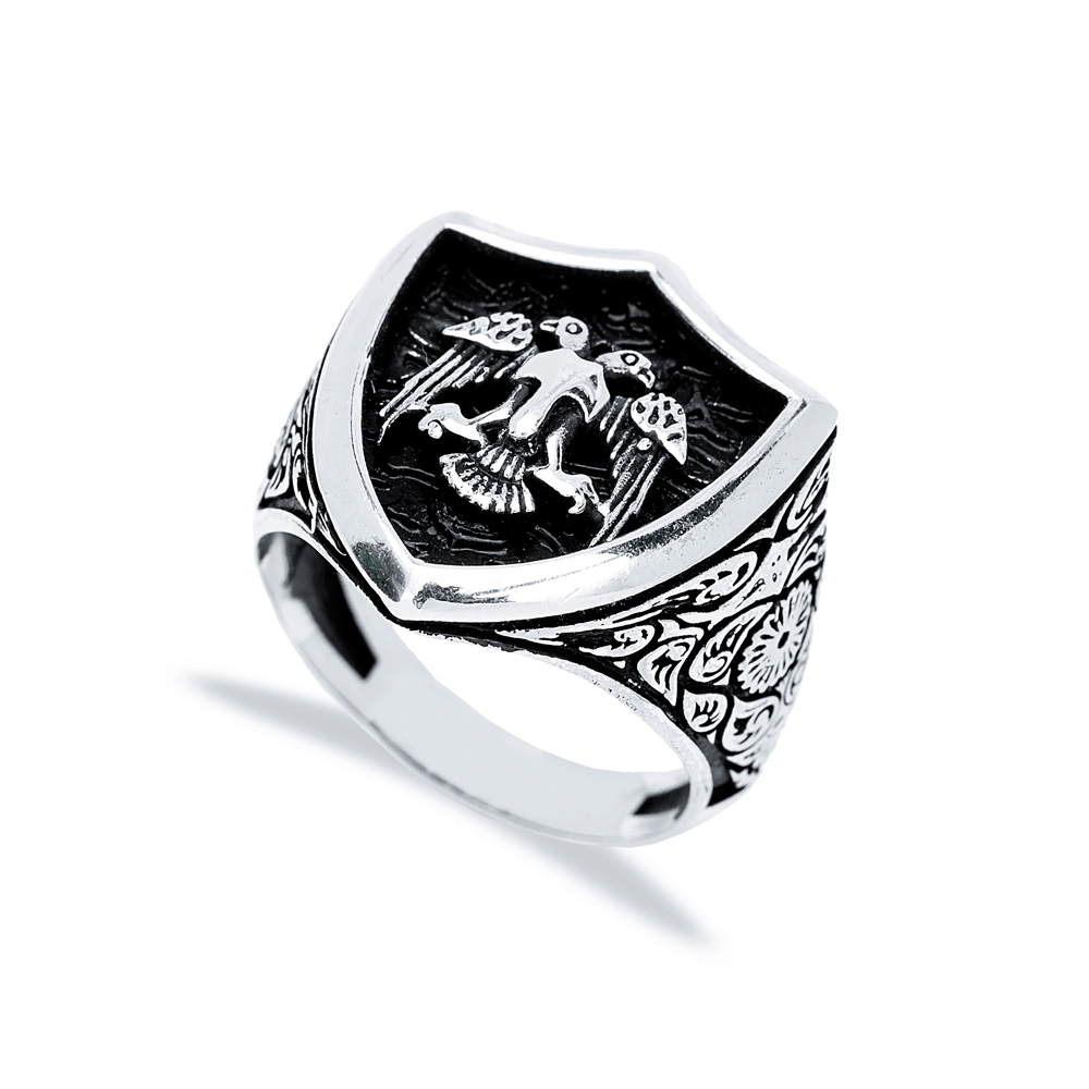 Double Eagle Design Men Signet Ring Wholesale Handmade 925 Sterling Silver Men's Jewelry