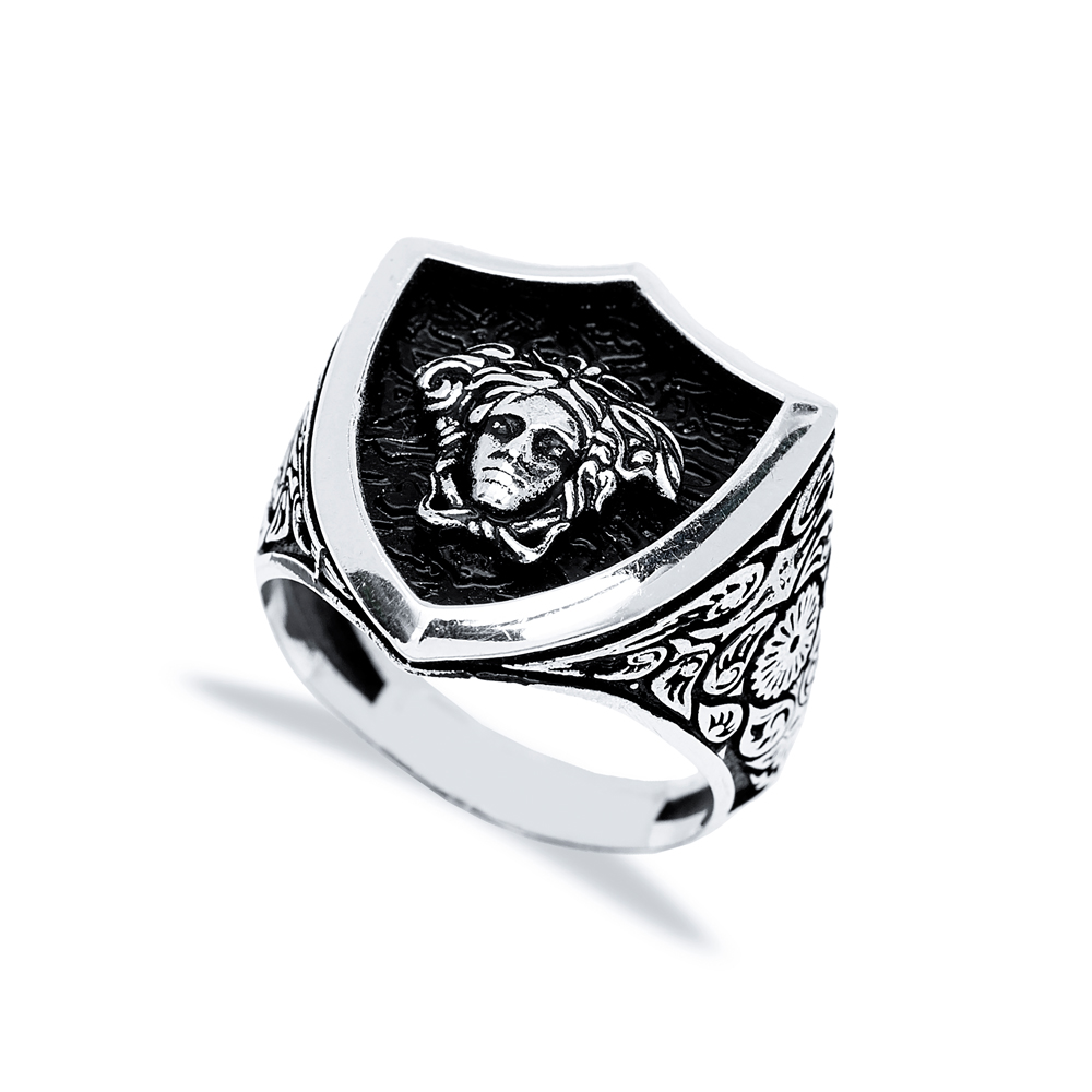 Medusa's Head Design Men Signet Ring Wholesale Handmade 925 Sterling Silver Men's Jewelry