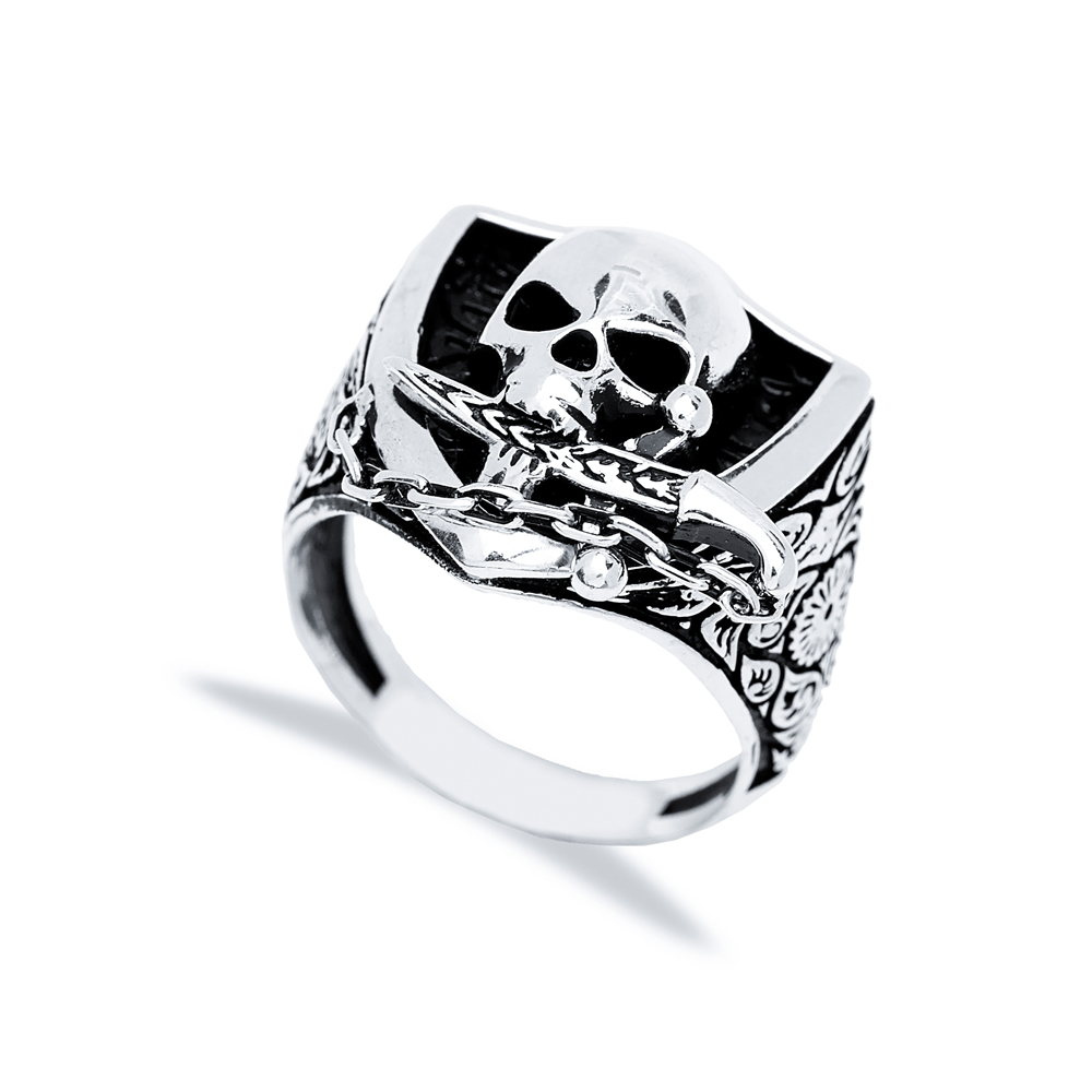 Skull With Sword Design Men Signet Ring Wholesale Handmade 925 Sterling Silver Men's Jewelry