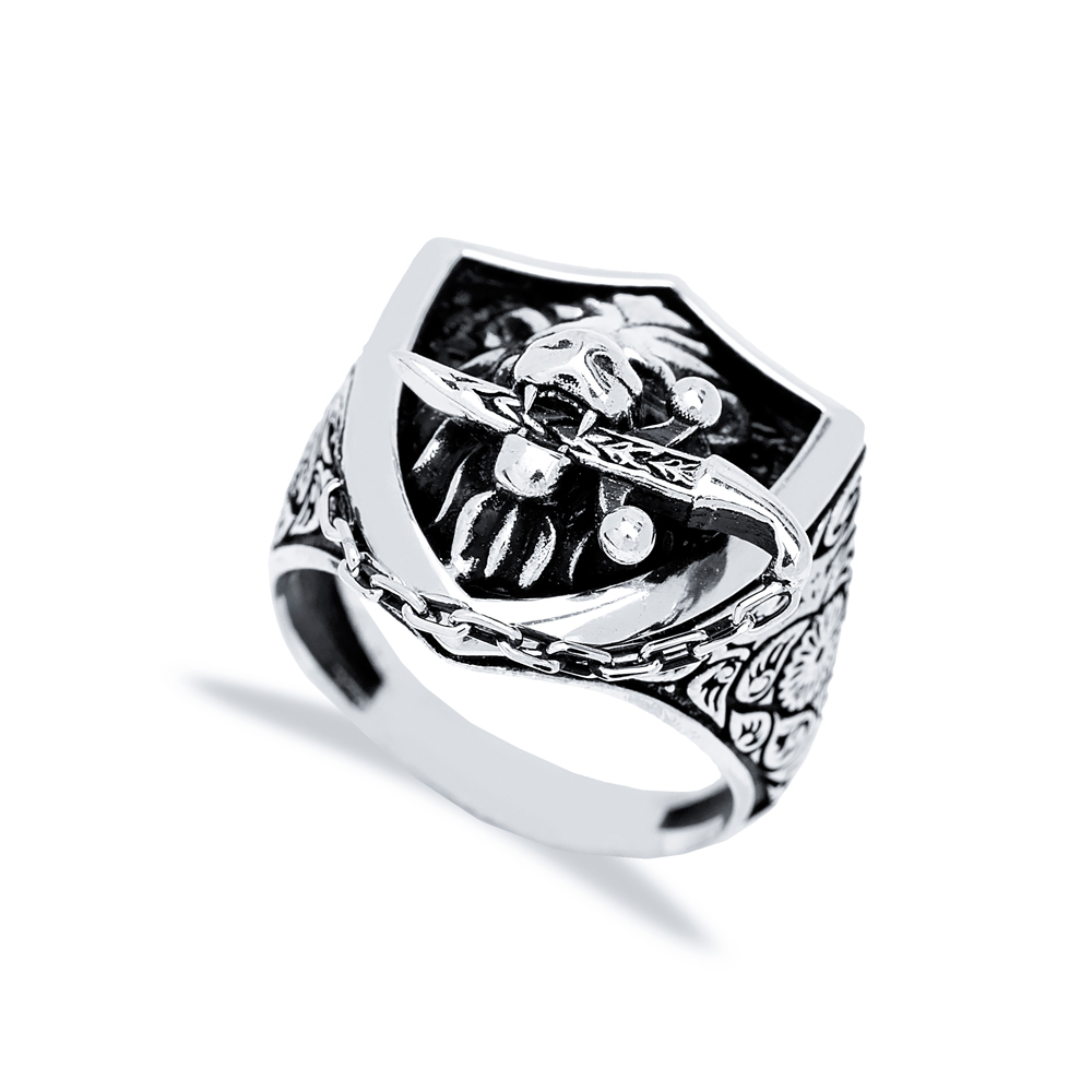 Lion With Sword Design Men Signet Ring Wholesale Handmade 925 Sterling Silver Men's Jewelry