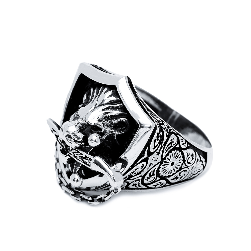 Lion With Sword Design Men Signet Ring Wholesale Handmade 925 Sterling Silver Men Jewelry