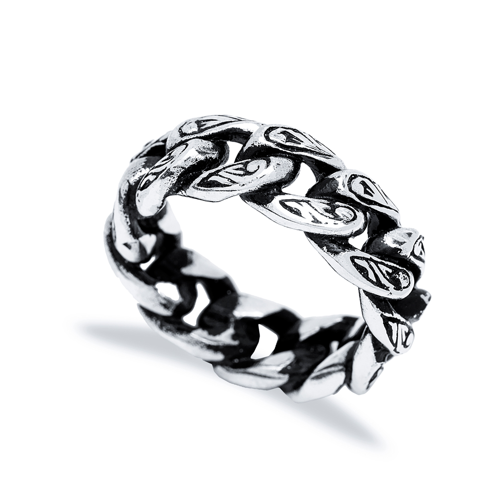 Brutal Link Chain Men Ring Wholesale Handmade 925 Sterling Silver Men's Jewelry