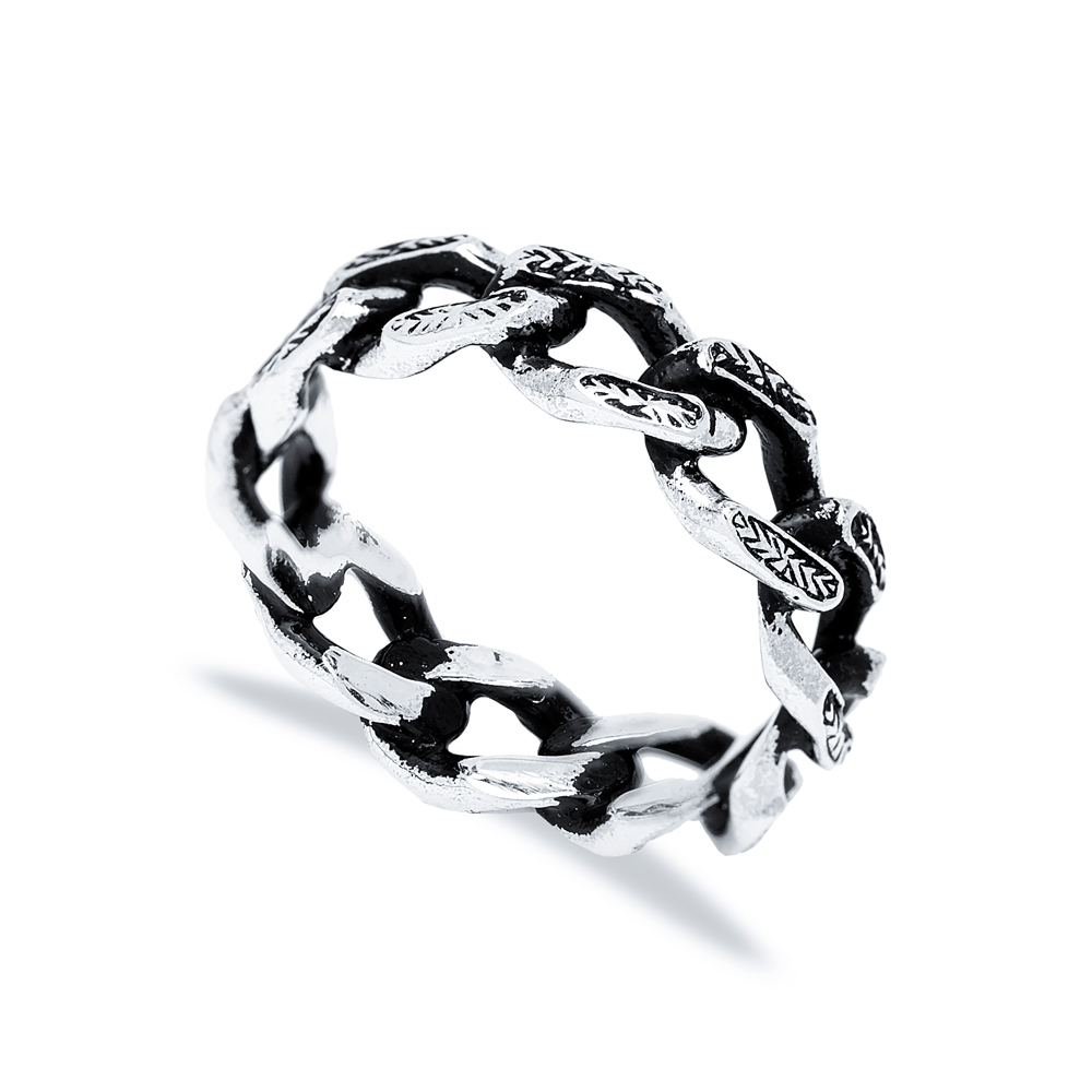 Handsome Link Chain Men Ring Wholesale Handmade 925 Sterling Silver Men's Jewelry