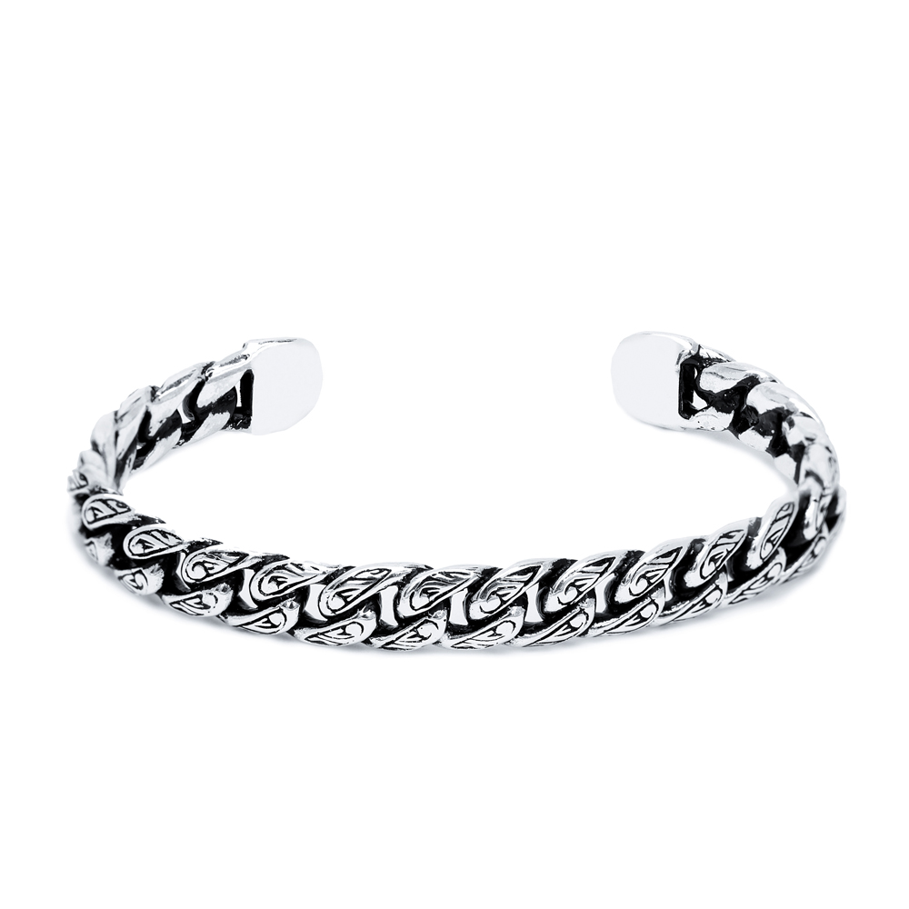 Cuban Curb Chain Men's Bangle Wholesale Handmade Turkish 925 Sterling Silver Cuff Jewelry