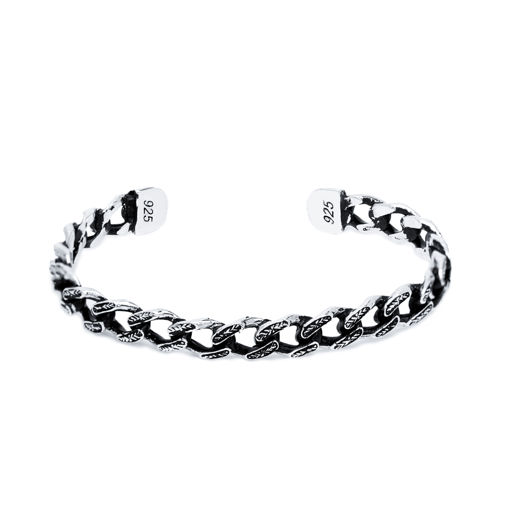 Link Chain Men's Bangle Wholesale Handmade Turkish 925 Sterling Silver Cuff Jewelry