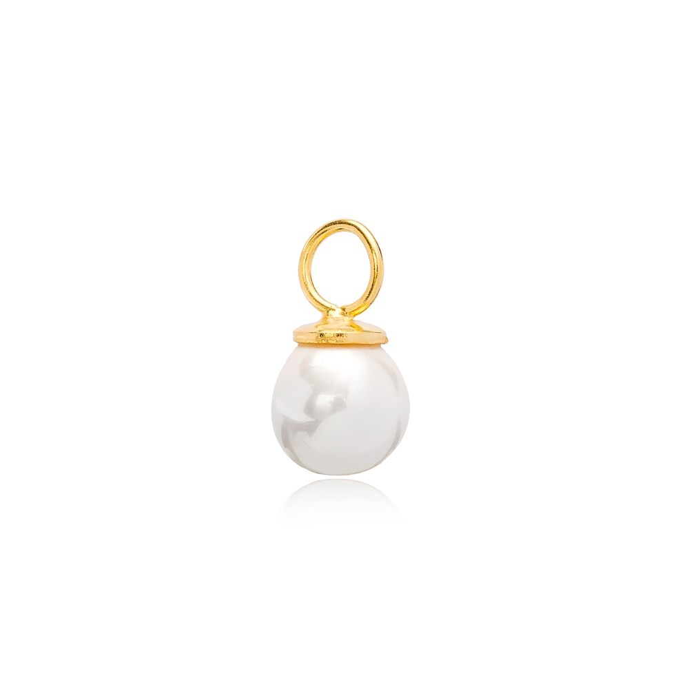 White Mallorca Pearl Charm Wholesale Handmade Turkish 925 Silver Sterling Jewelry With Hole Ø5.8 mm