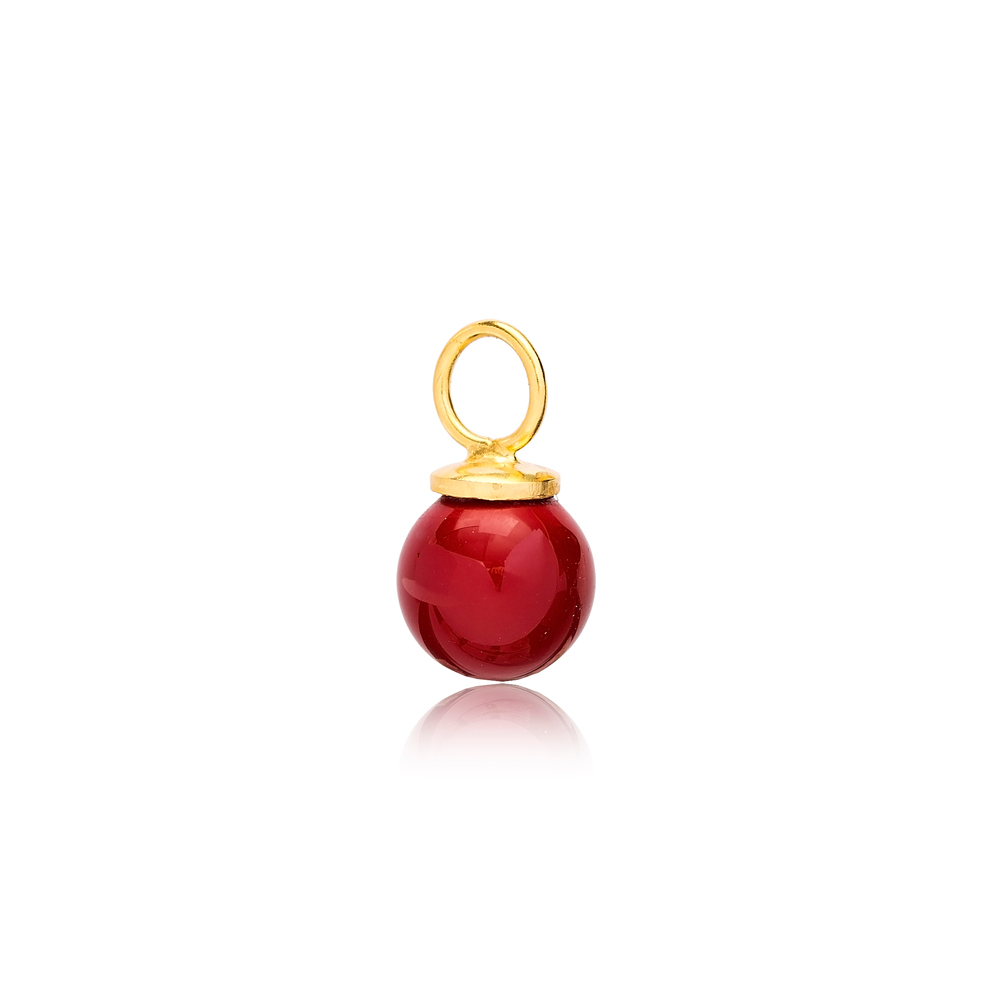 Red Mallorca Pearl Charm Wholesale Handmade Turkish 925 Silver Sterling Jewelry With Hole Ø5.8 mm