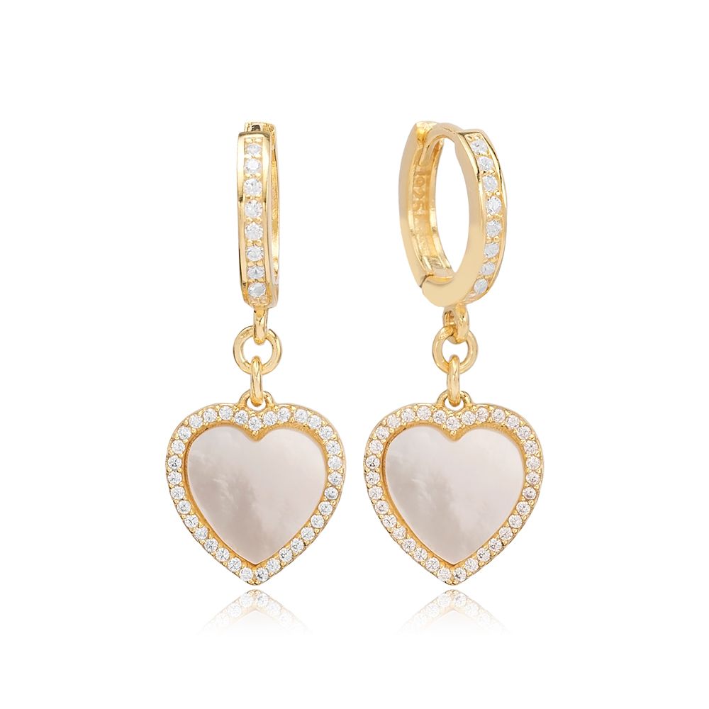 Mother Of Pearl Heart Design Zircon Stone Dangle Earrings Turkish Wholesale Sterling Silver Jewelry
