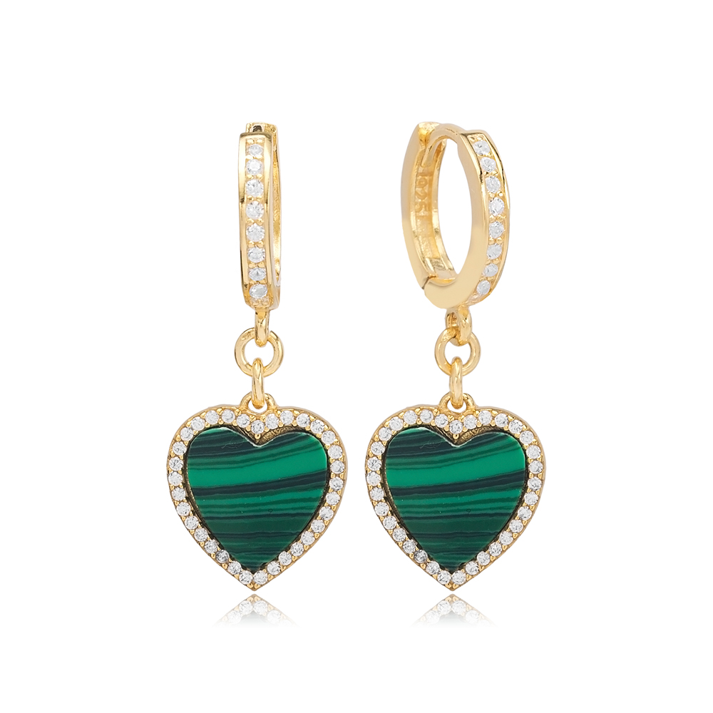 Malachite Heart Design Zircon Stone Dangle Earrings Turkish Wholesale Sterling Silver Jewelry