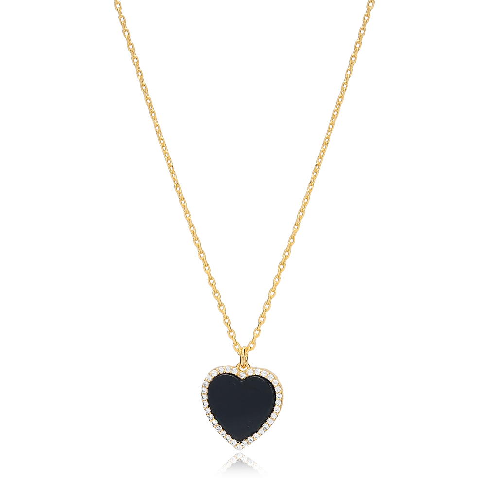 Black Onyx Heart Zircon Stone Charm Necklace Wholesale Turkish 925 Sterling Silver Jewelry