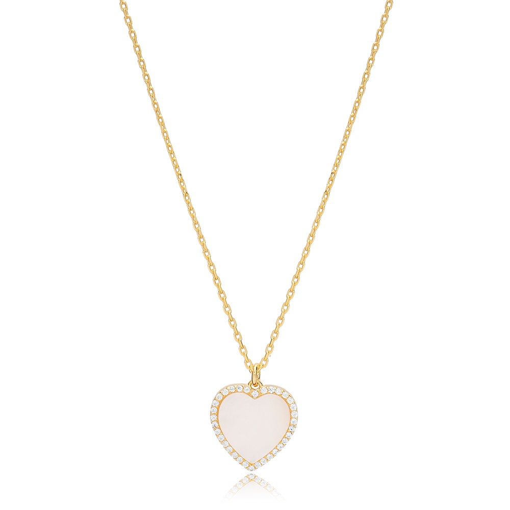 Mother Of Pearl Heart Zircon Stone Charm Necklace Wholesale Turkish 925 Sterling Silver Jewelry