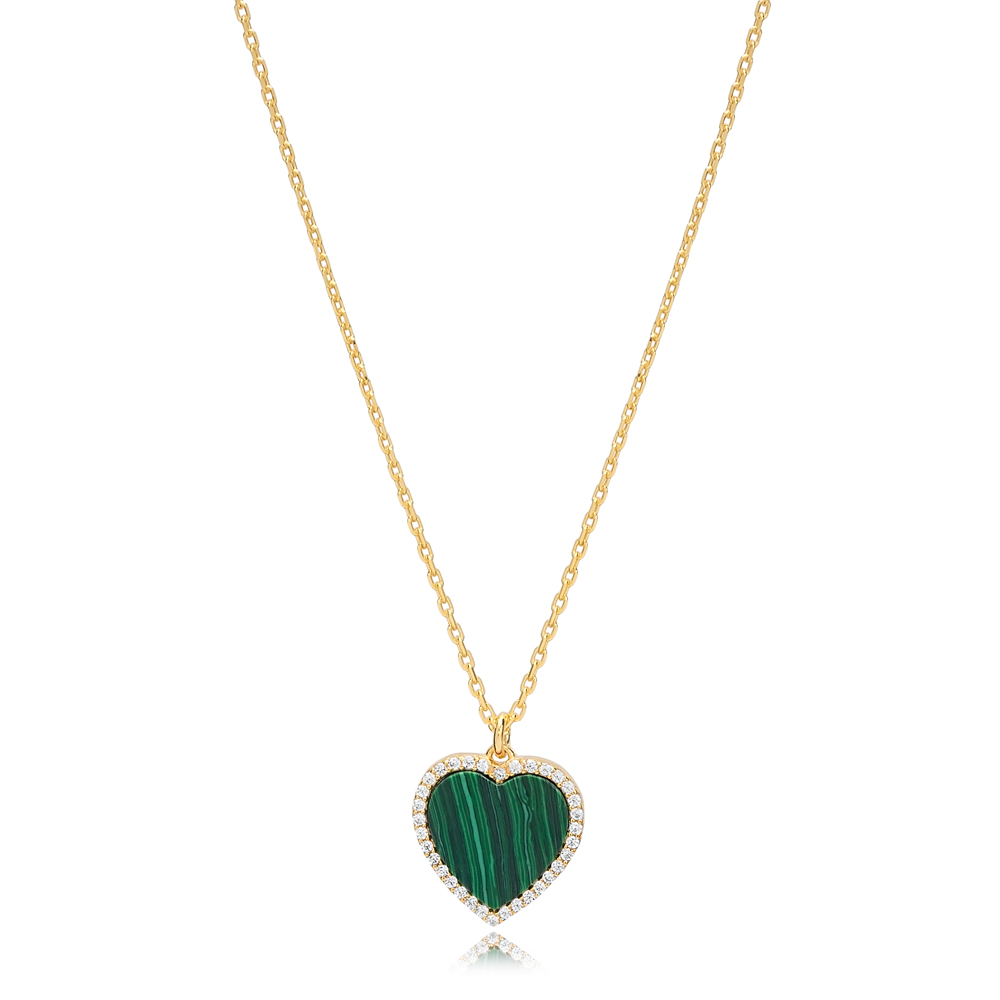 Malachite Heart Zircon Stone Charm Necklace Wholesale Turkish 925 Sterling Silver Jewelry