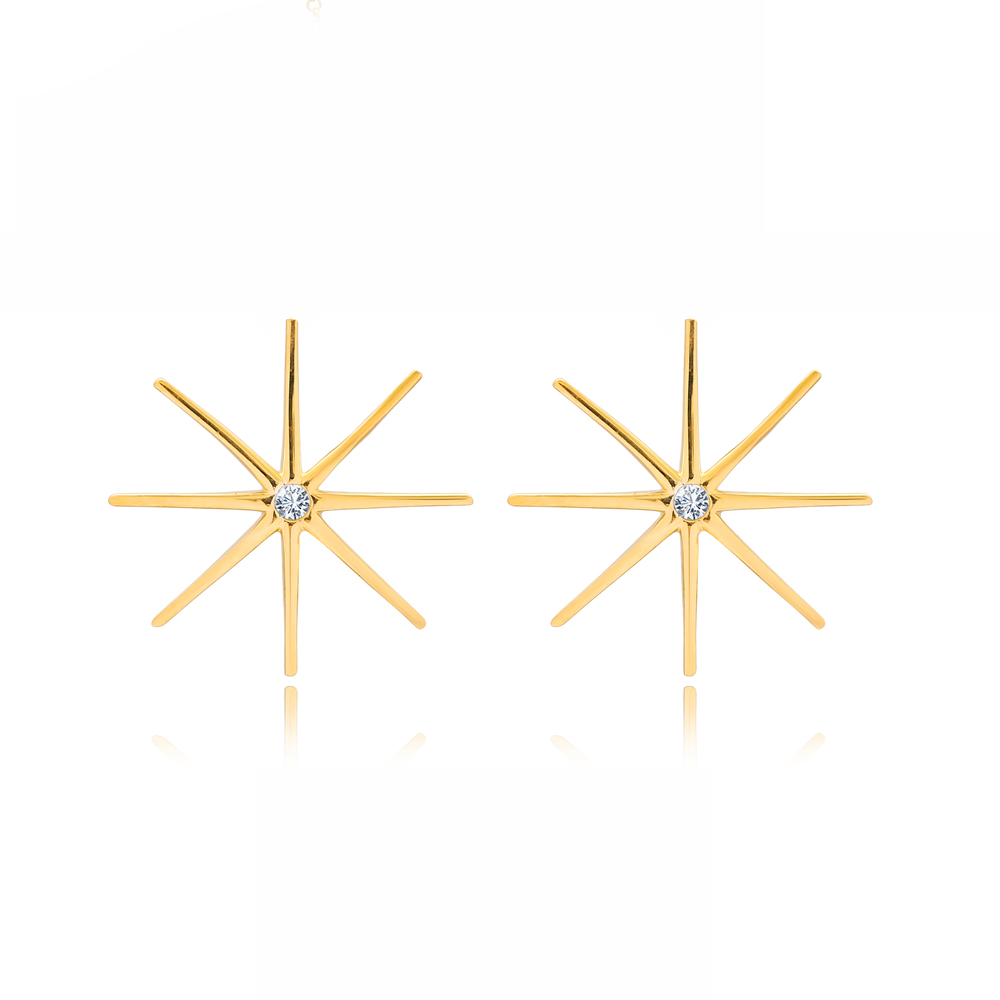 North Star Design Zircon Stone Silver Stud Earrings Wholesale Turkish Sterling Silver Jewelry