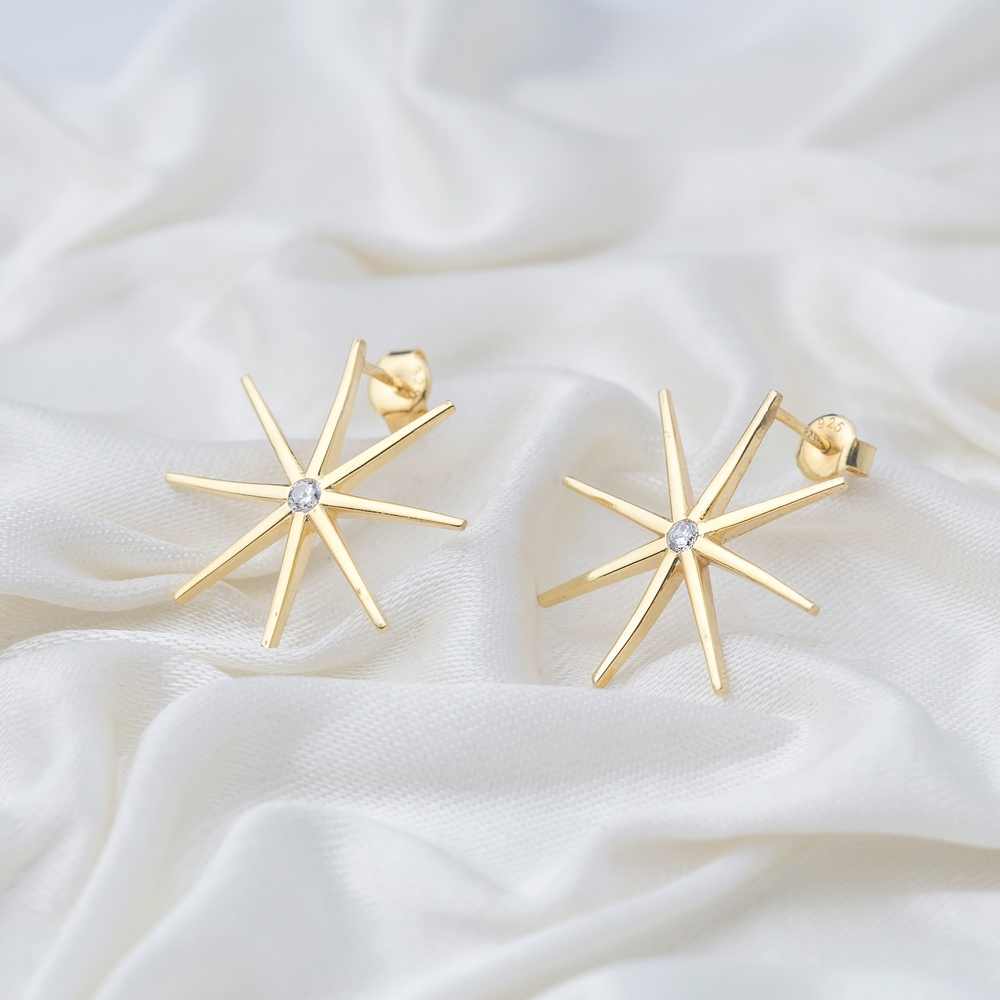 North Star Design Zircon Stone Stud Earrings  Handmade 925 Sterling Silver Jewelry