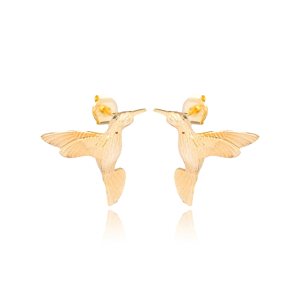 Colibri Bird Design Zircon Stone Silver Stud Earrings Wholesale Turkish Sterling Silver Jewelry