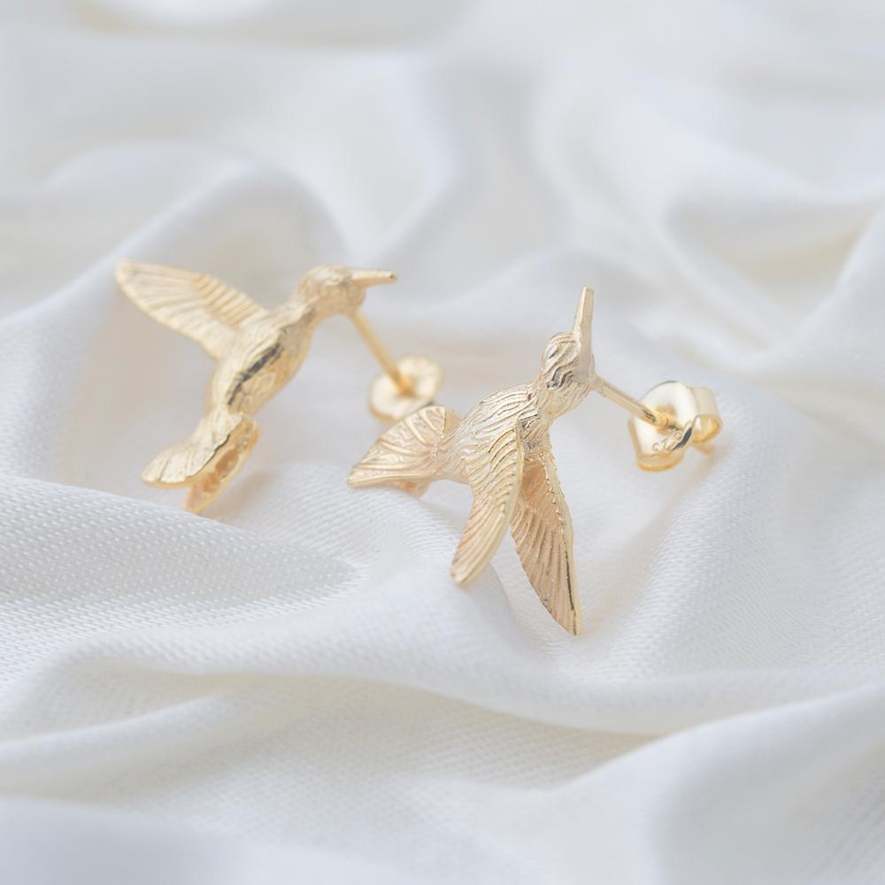 Colibri Bird Design Zircon Stone Silver Stud Earrings Wholesale Turkish Sterling Silver Jewelry