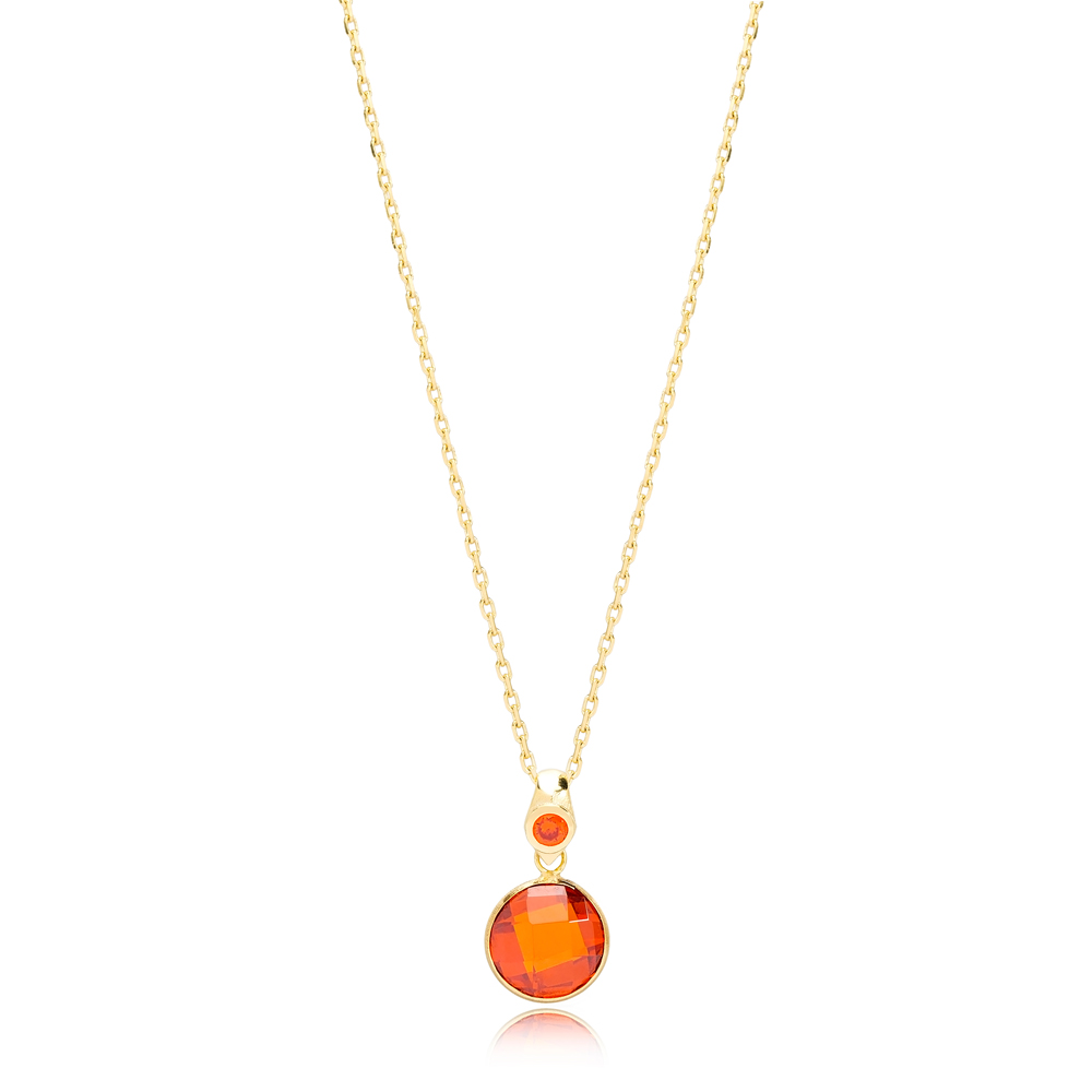 Orange Zircon Stone Charm Trendy Design Pendant Turkish Handmade 925 Sterling Silver Jewelry
