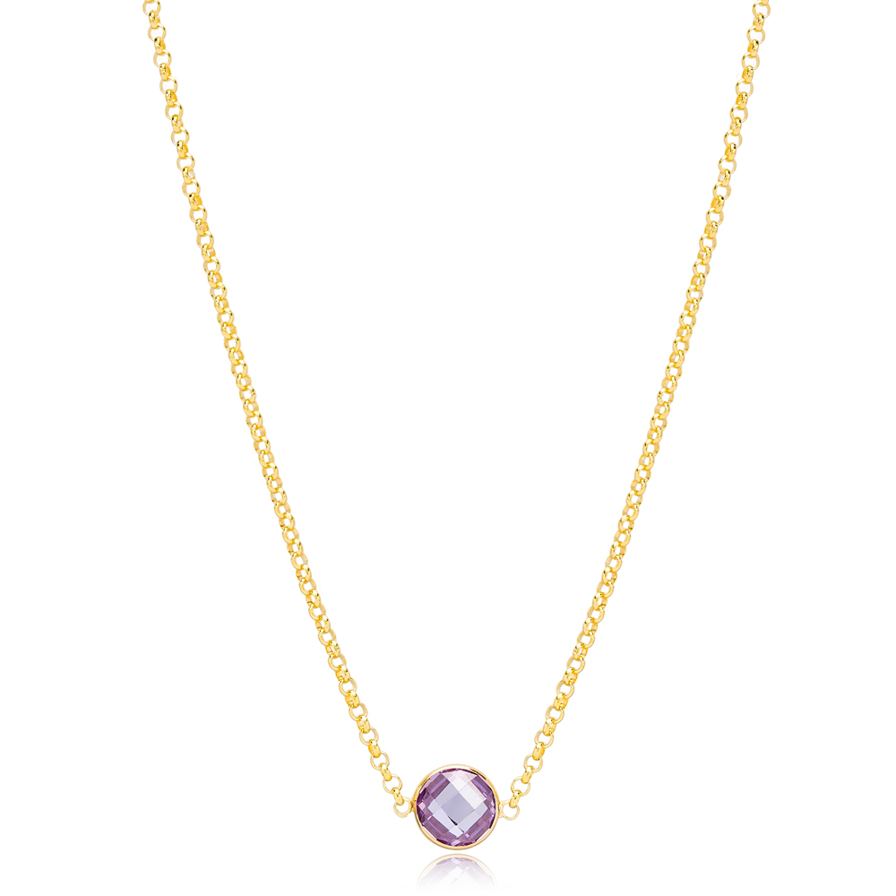 Amethyst Stone Charm Elegant Link Chain  Pendant Turkish Handmade 925 Sterling Silver Jewelry