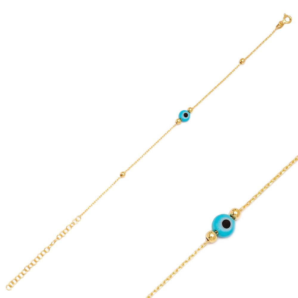 Tiny Evil Eye Design Charm Thin Bracelet Turkish Wholesale Handmade 925 Sterling Silver Jewelry