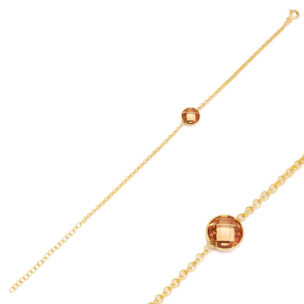 Orange Quartz Design Charm Thin Bracelet Turkish Wholesale Handmade 925 Sterling Silver Jewelry