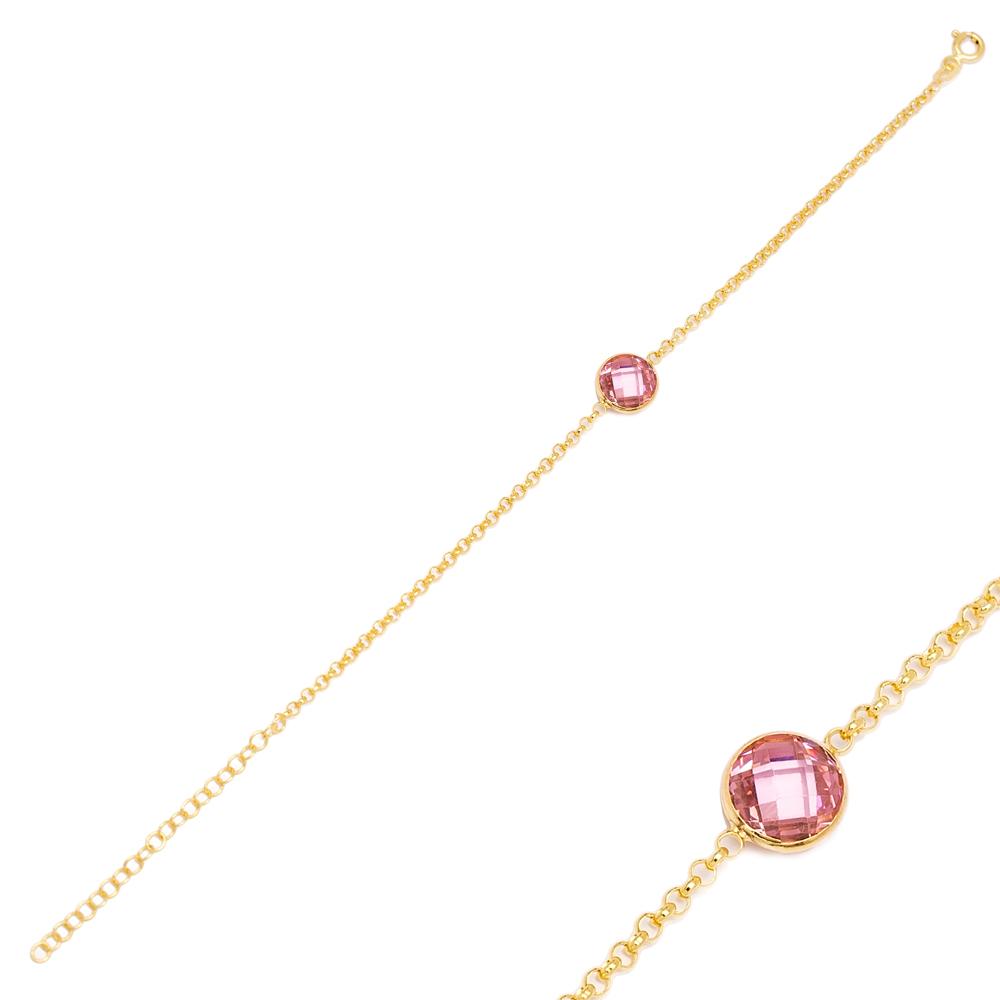 Pink Quartz Design Charm Thin Bracelet Turkish Wholesale Handmade 925 Sterling Silver Jewelry