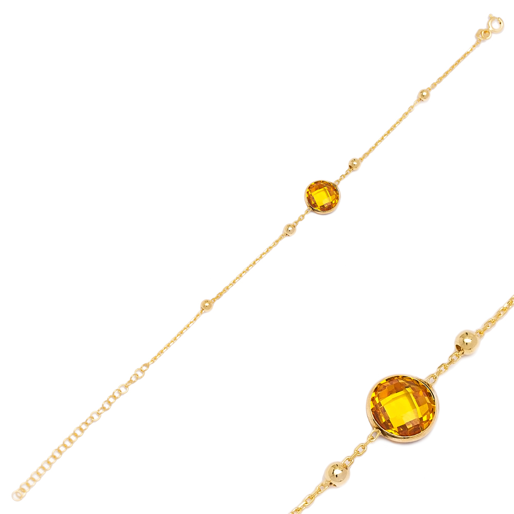 Citrine Stone Design Charm Thin Bracelet Turkish Wholesale Handmade 925 Sterling Silver Jewelry